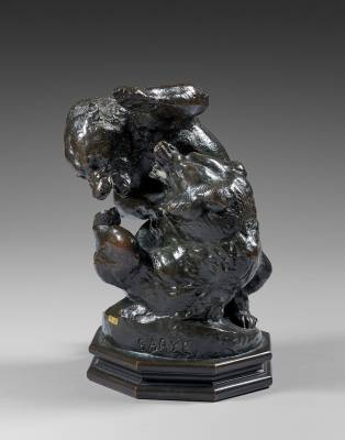 Antoine Louis Barye, groupe d'ours, bronze Barbedienne
