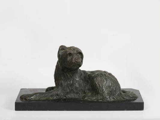 Georges Lavroff, chien assis, bronze