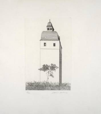 David Hockney, the bell tower, gravure