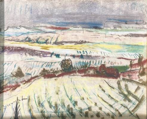 Willy Eisenschitz, paysage de Provence, dessin
