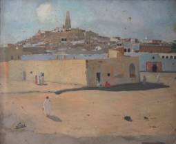 Gustave Lino, ville du Maghreb, huile