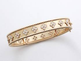 Van Cleef & Arpels, bracelet perlée trèfles or et diamants