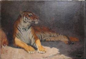 Gustave Surand, lion assis, tableau