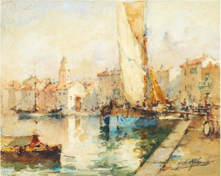 Gilbert Galland, vue de port, aquarelle