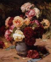 Georges Jeannin, roses, tableau